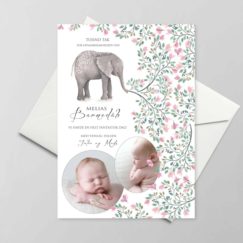 Takkekort. Barnedåb. Pige. Elefant. Lyserød