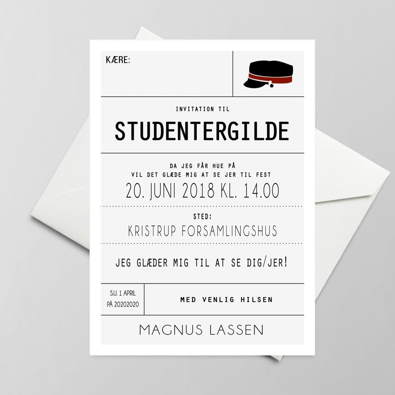 Invitation. Studentergilde. Rød hue. Blå hue.
