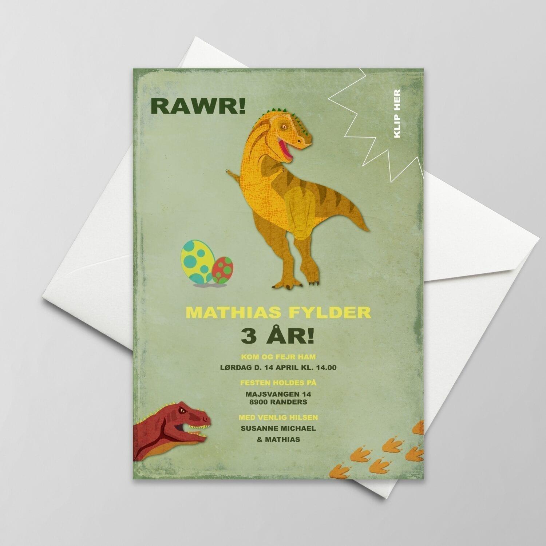Fødselsdagsinvitation. Dreng. Dinosaur. Grøn