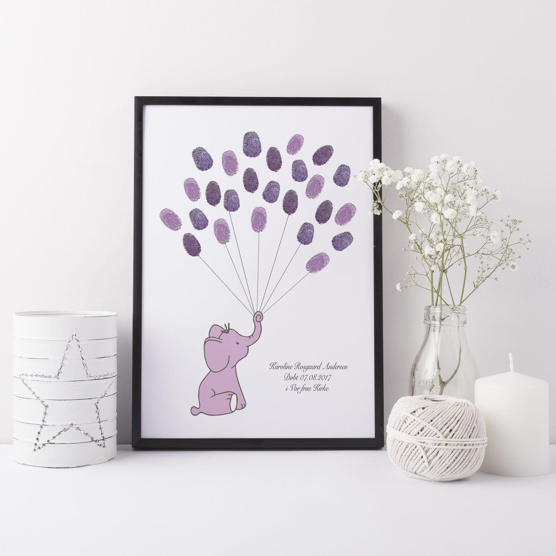 Gæstebog fingeraftryk lilla elefant