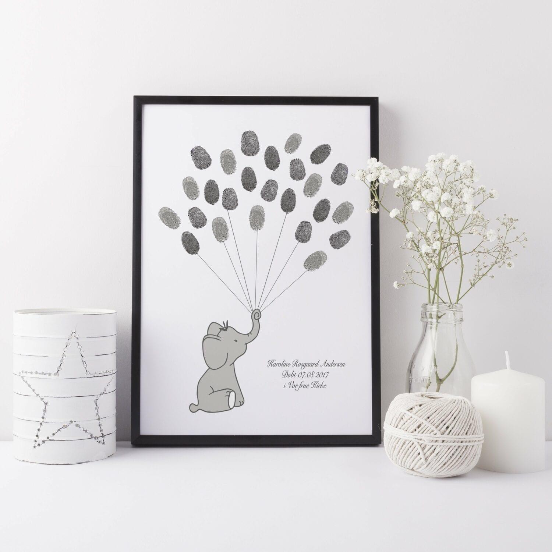 Gæstebog fingeraftryk grå elefant
