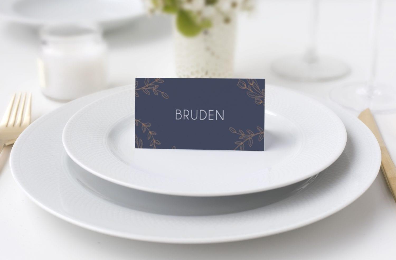 bordkort kobber og blå bryllup