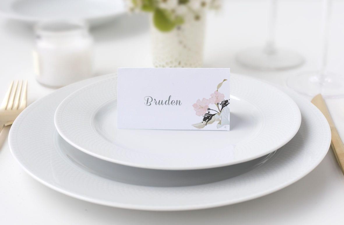 bordkort bryllup lyserøde blomster