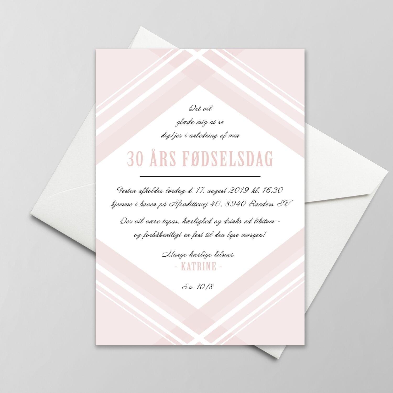 lyserød invitation