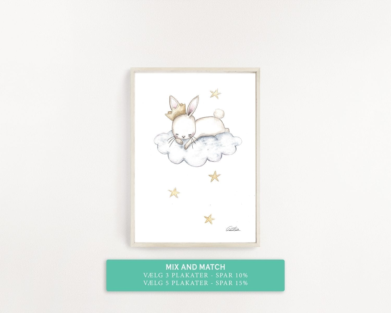 børne plakat kanin med krone svæver på en sky