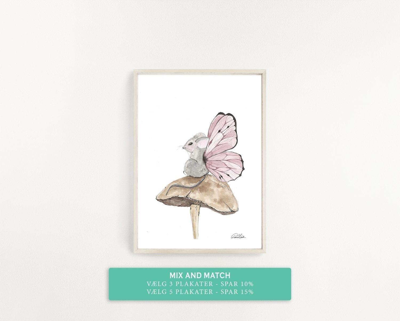børne plakat sød mus med vinger