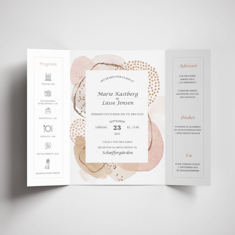 Smuk indbydelse til bryllup i moderne og lyse farver