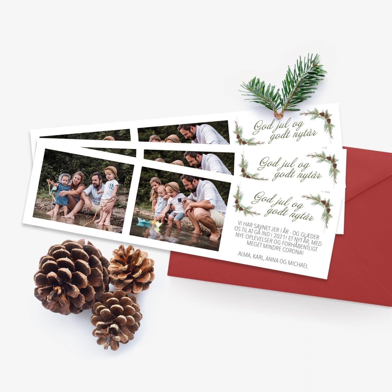 anderledes julekort med gran og kogler