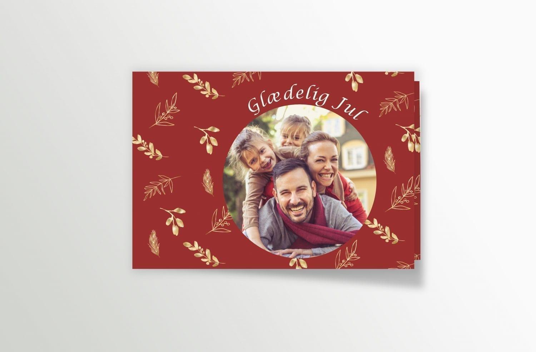 julekort rød guld med personligt billede