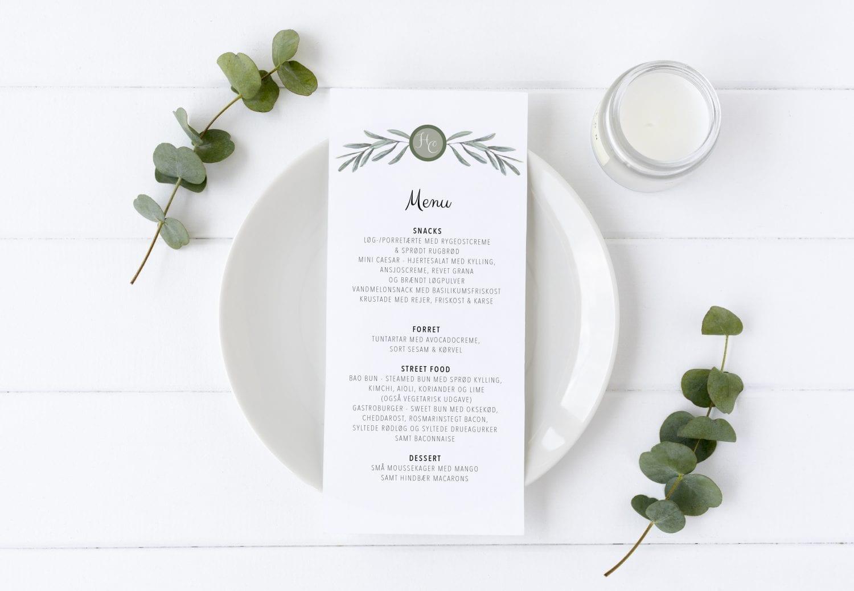 menukort til bryllup