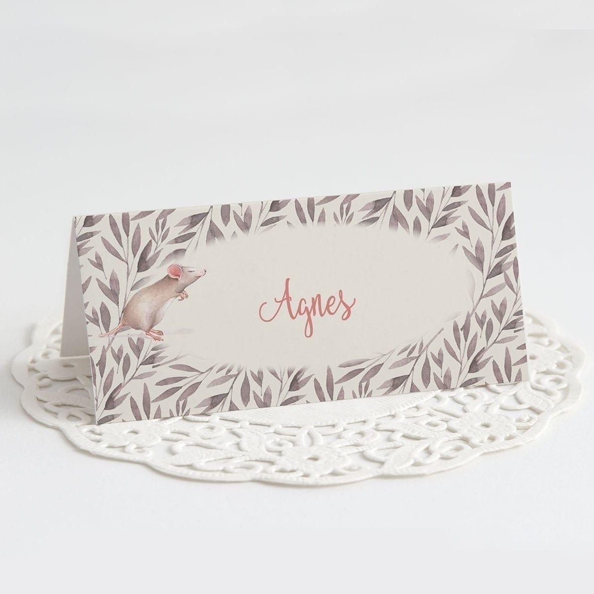 sødt bordkort mus blade