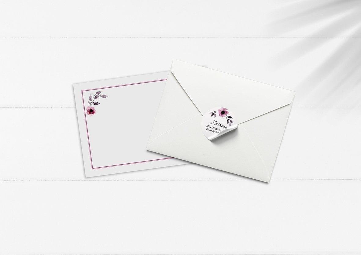 kuvert pakke med stickers pink blomster