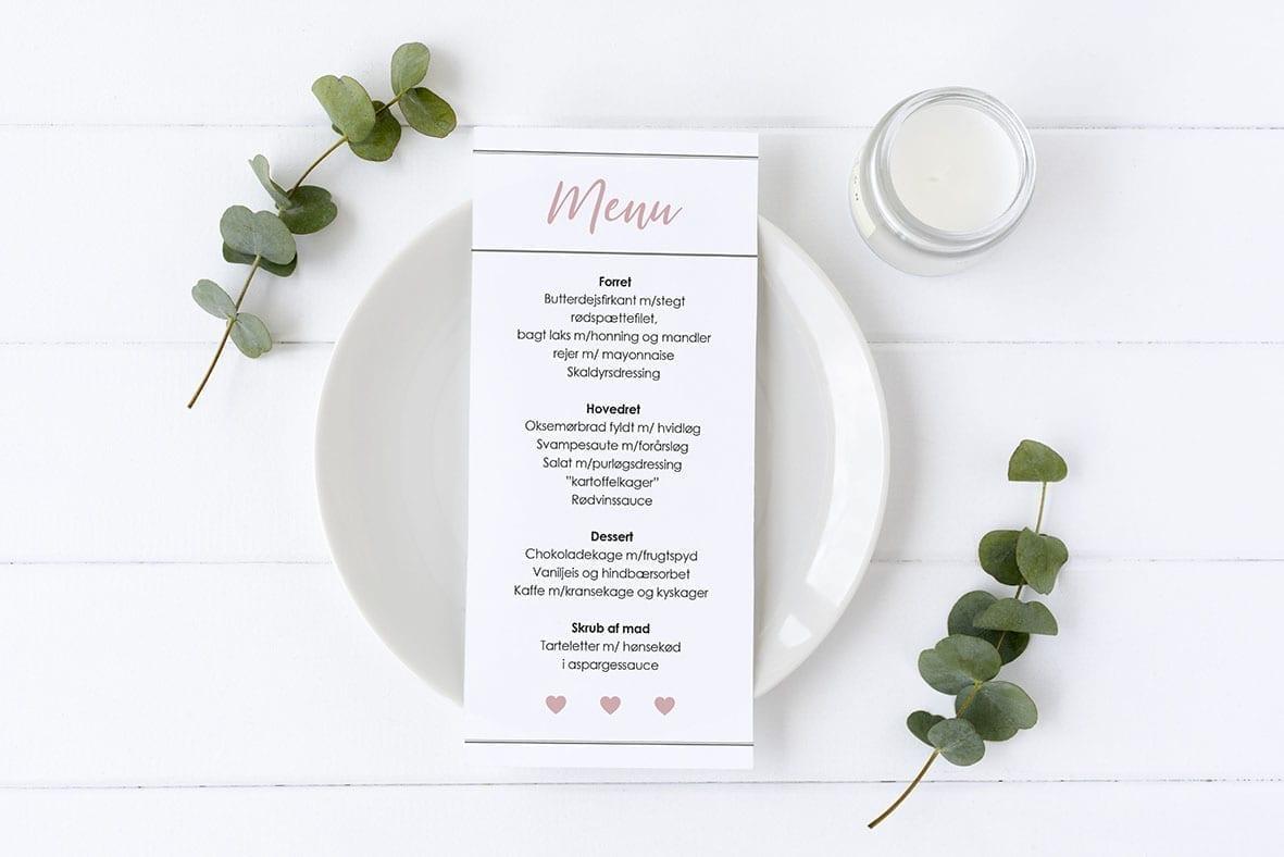 menukort med hjerter enkelt lyserød