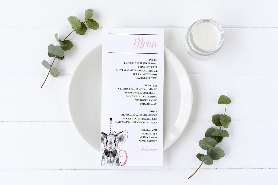 menukort med mus barnedåb