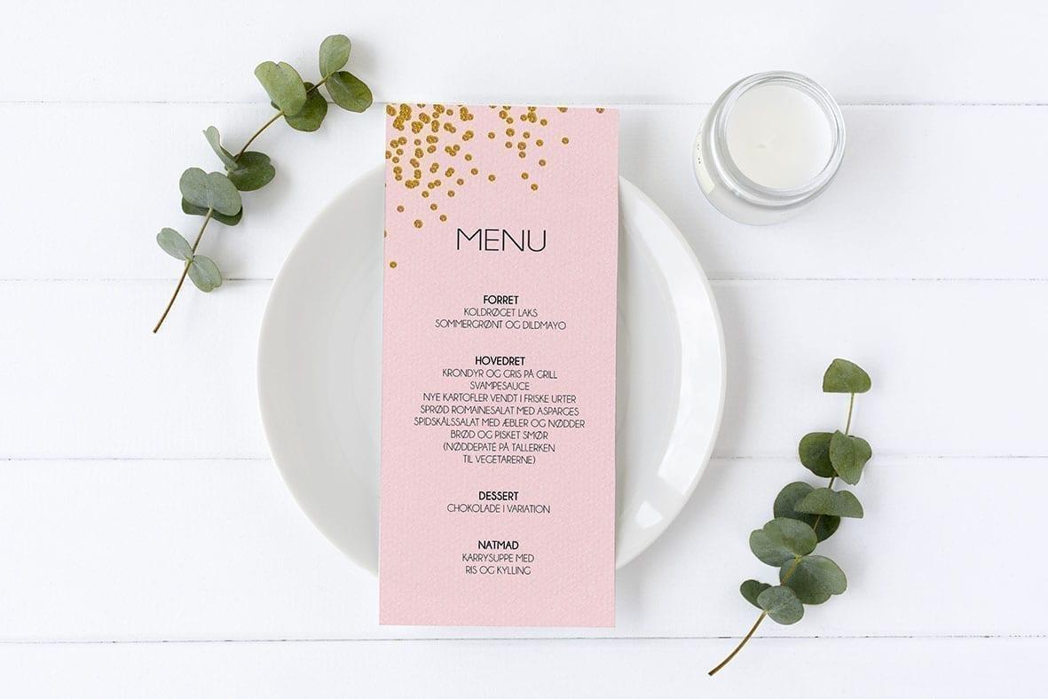 menukort konfirmation lyserød og guld