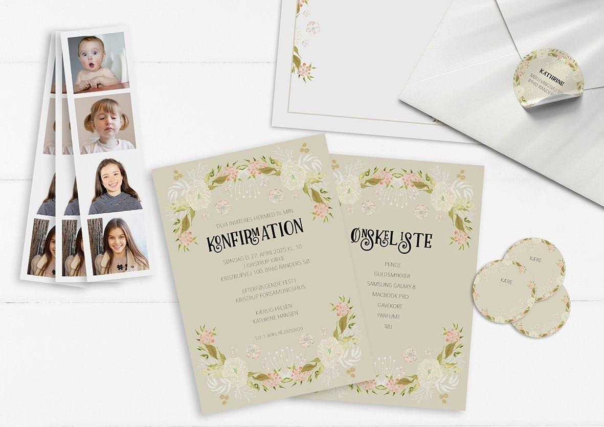 Invitation. Konfirmation. Pige. Lyserød og hvide blomster