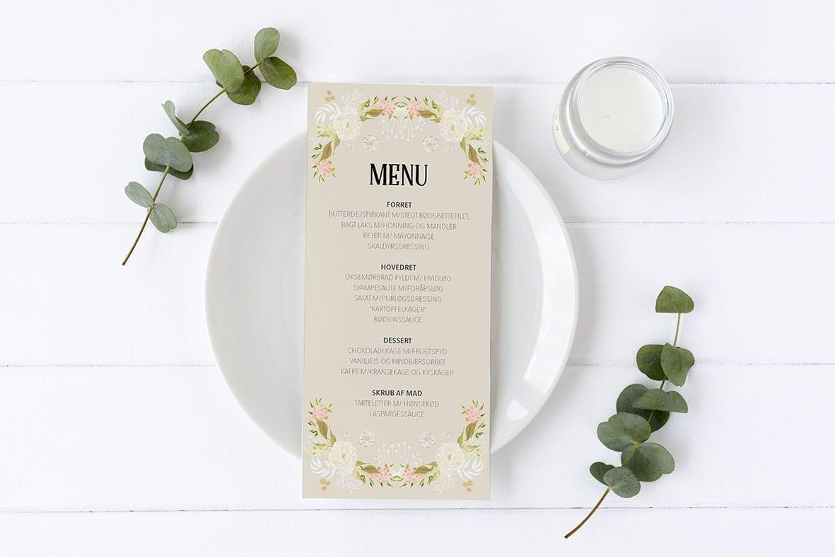 menukort konfirmation beige med blomster