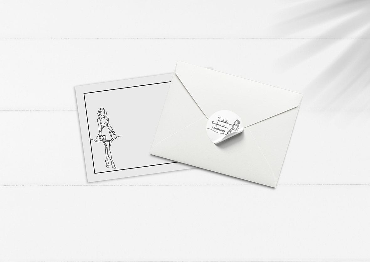 kuvert pakke med stickers girly lines