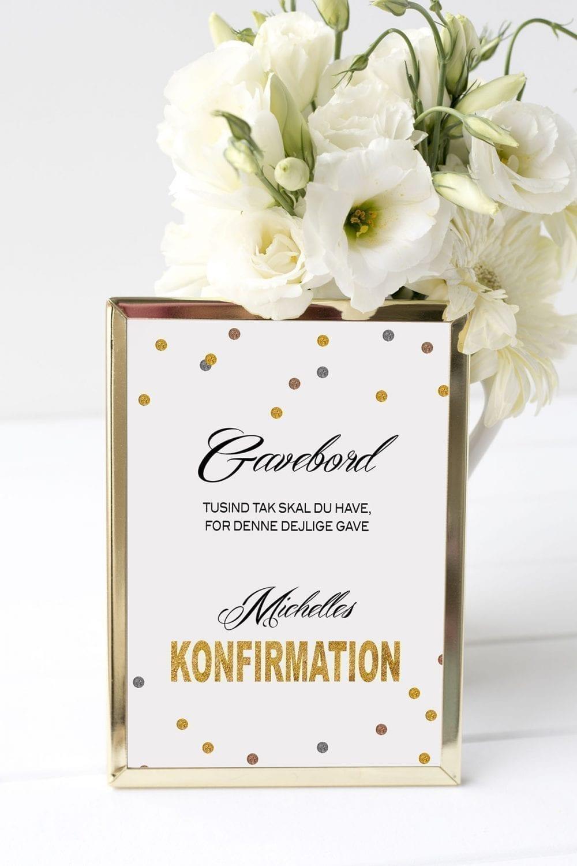 gavebord skilt konfirmation glittery