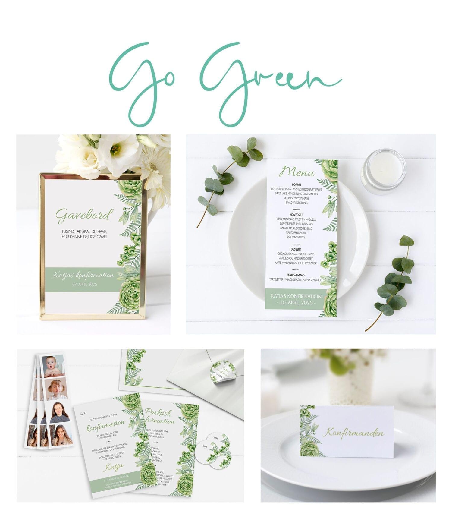 Konfirmation invitation grøn natur eukalyptus