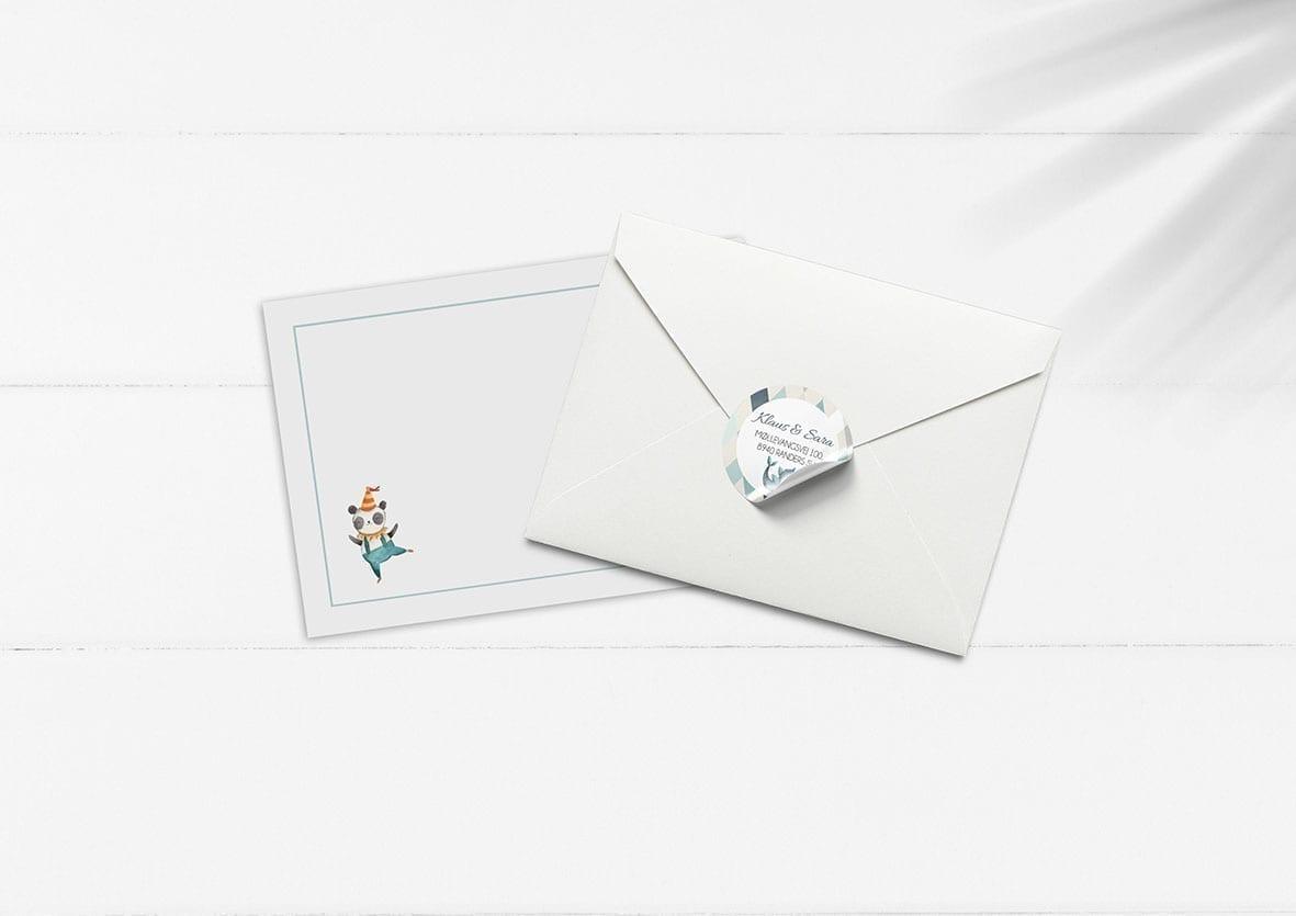 kuvert pakke med stickers cirkus lyseblå