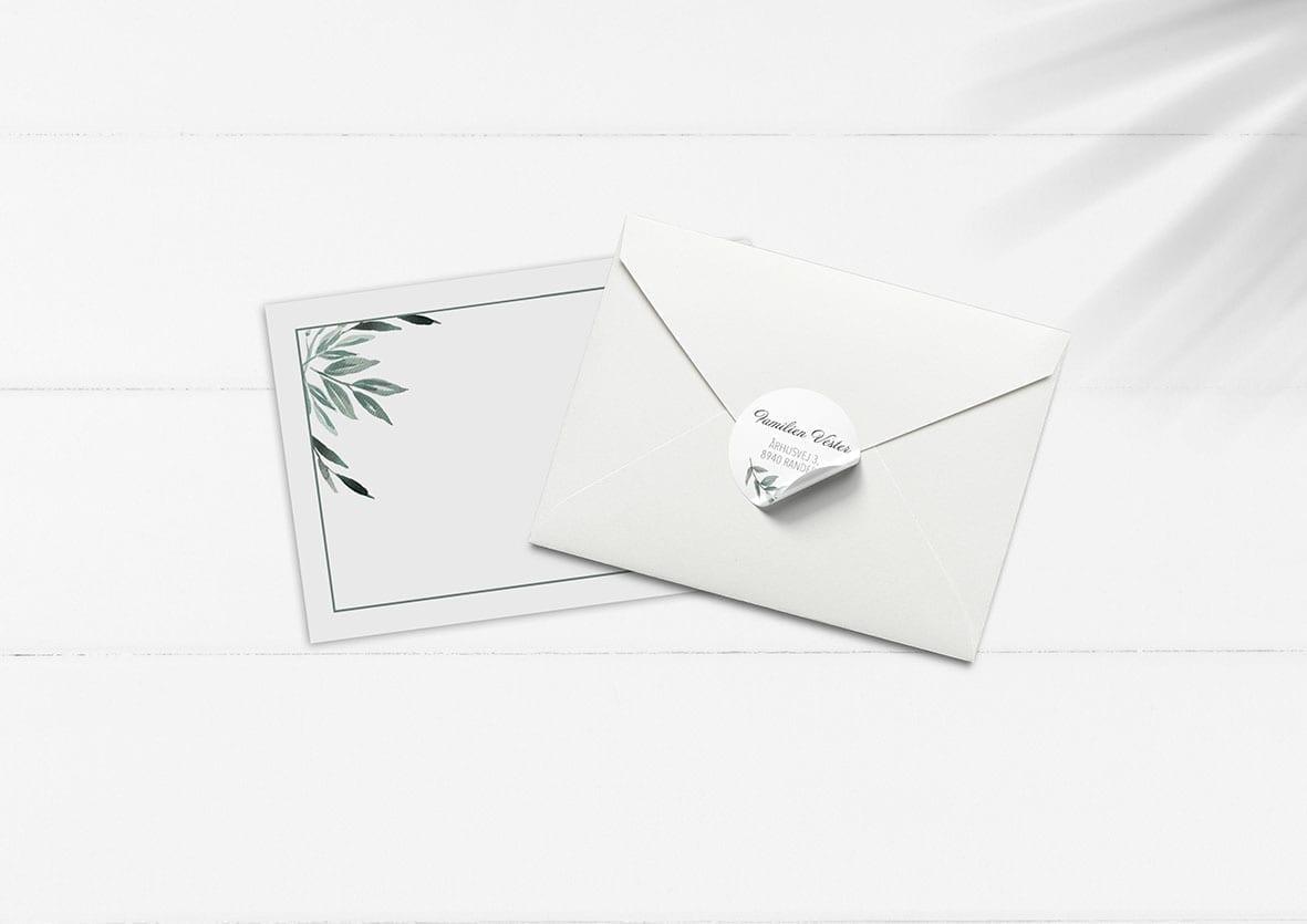 kuvert pakke med stickers eucalyptus