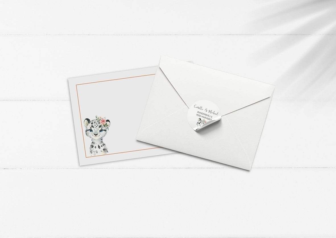 kuvert pakke med stickers leopard pige