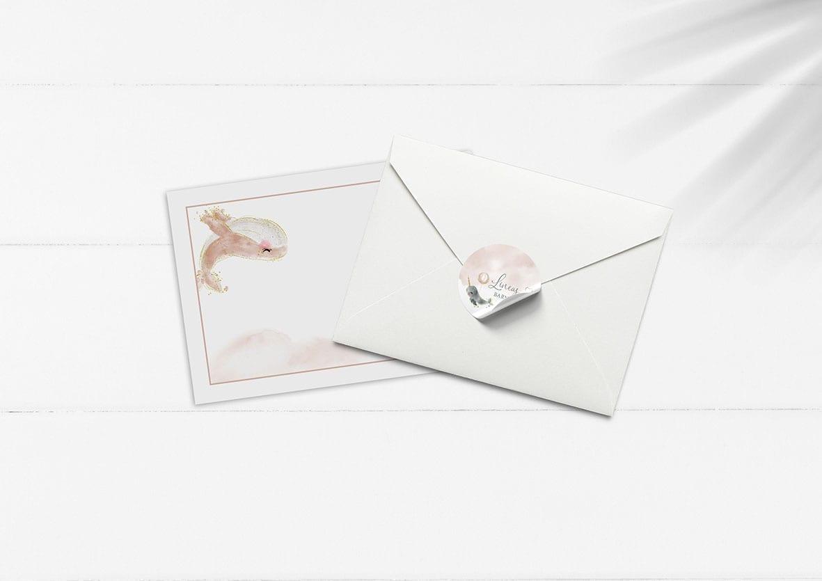 kuvert pakke med stickers hvaler og ballon pige