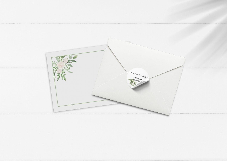 kuvert pakke med stickers grøn og hvide blomster