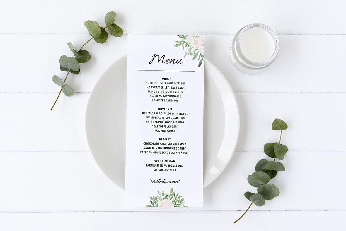 menukort med hvide blomster grønne grene