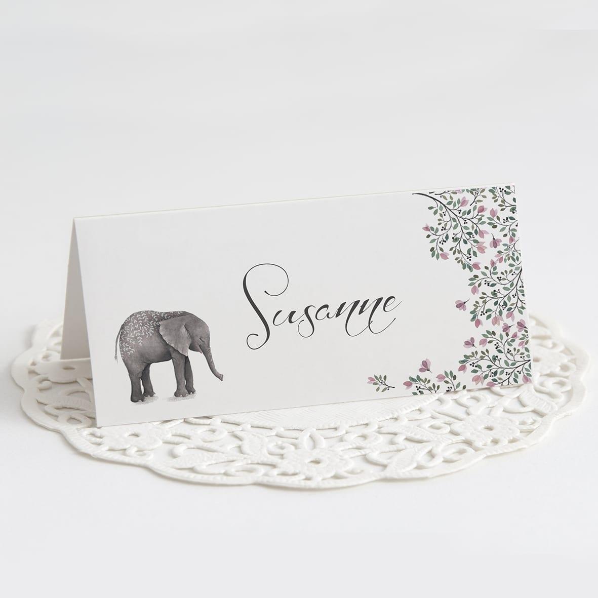 Bordkort. Barnedåb. Pige. Lyserød. Elefant
