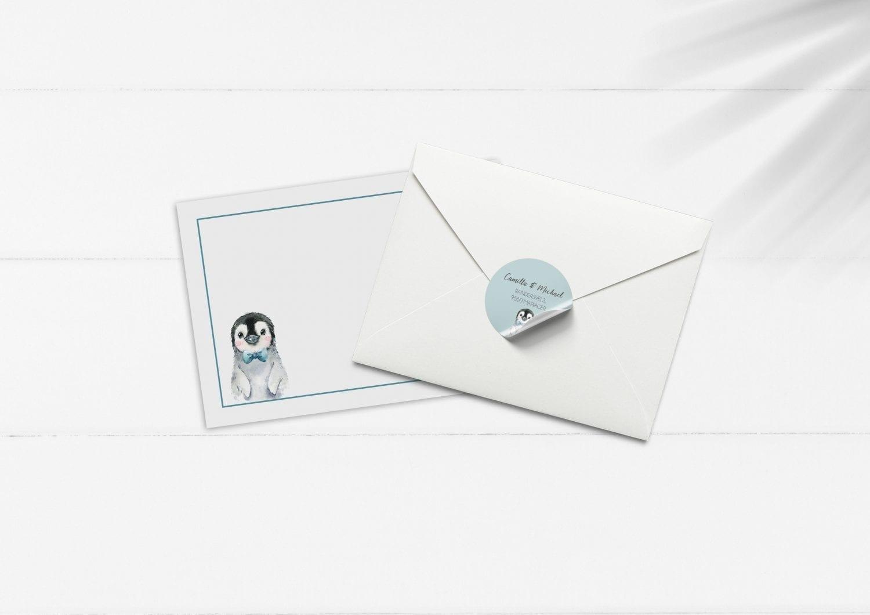 kuvert pakke med stickers pingvin blå