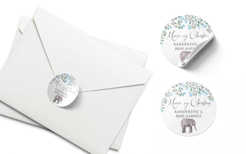 Stickers barnedåb elefant magnus