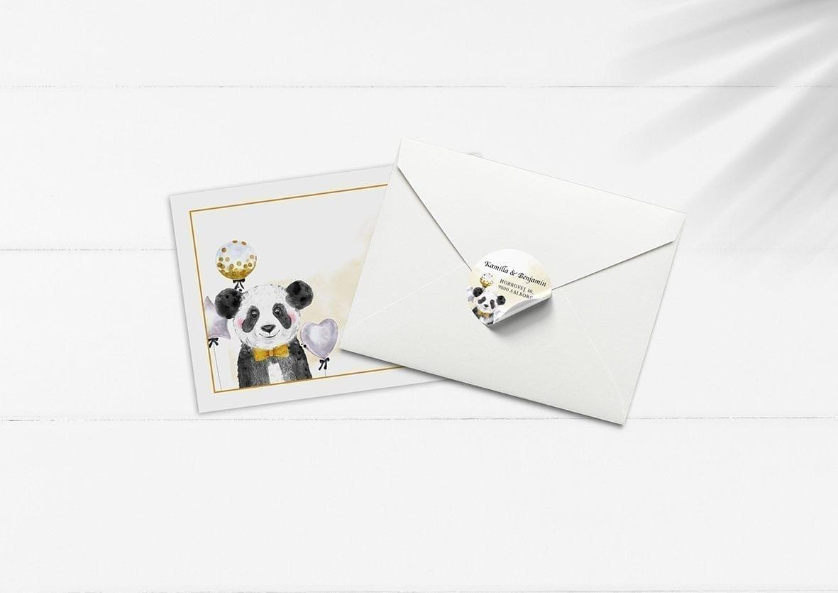 kuvert pakke med stickers panda balloner