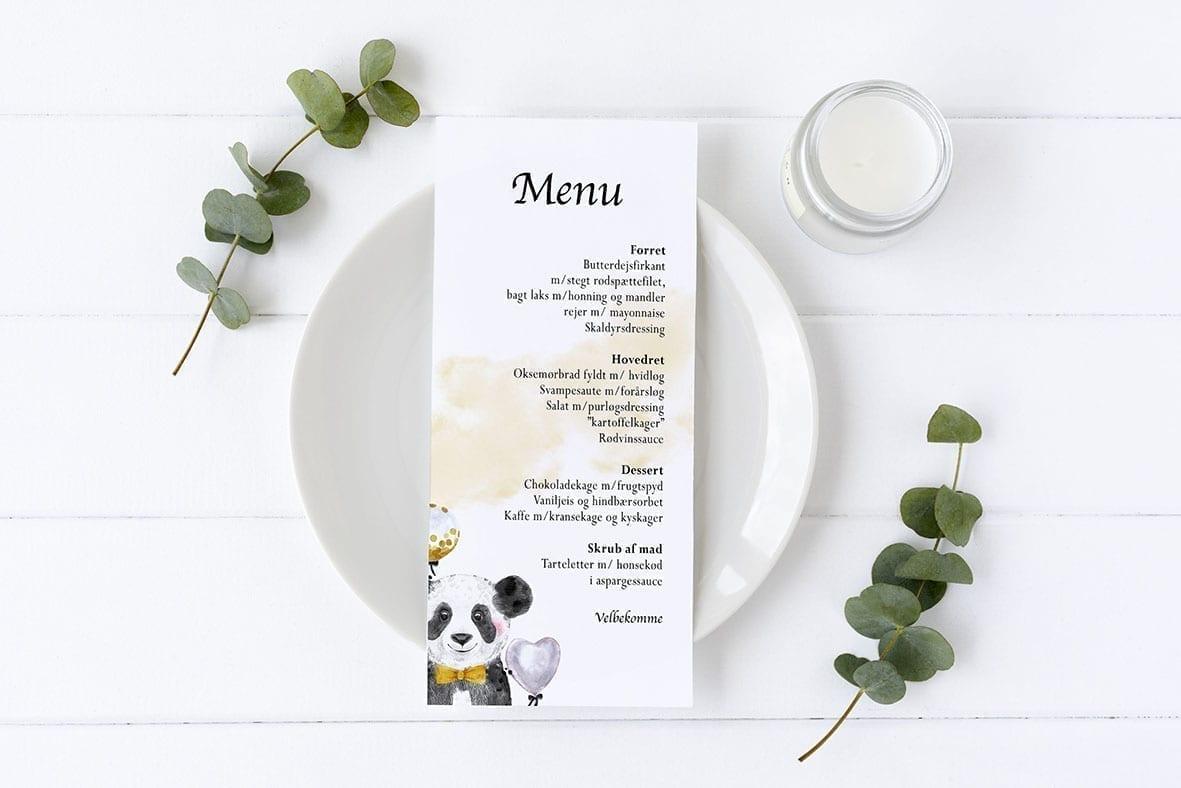 menukort med panda barnedåb