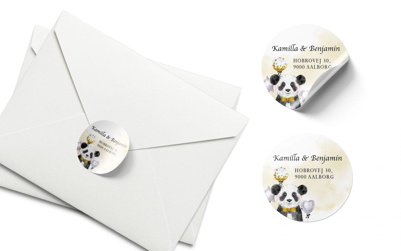 Stickers barnedåb panda karrygul