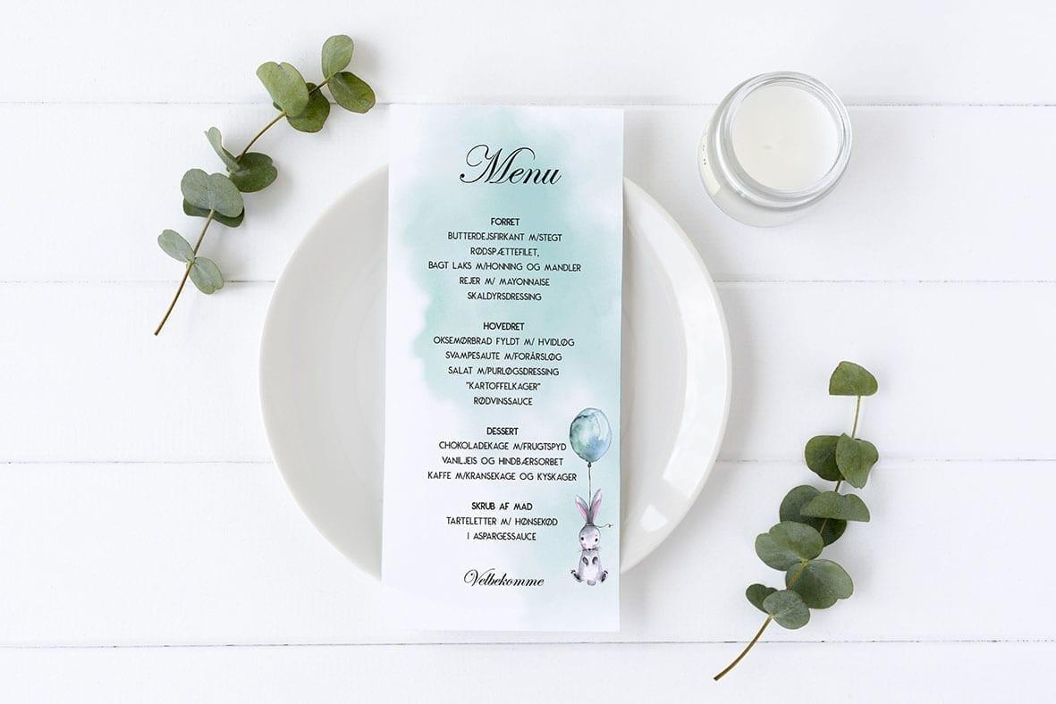 menukort med kanin og ballon watercolor