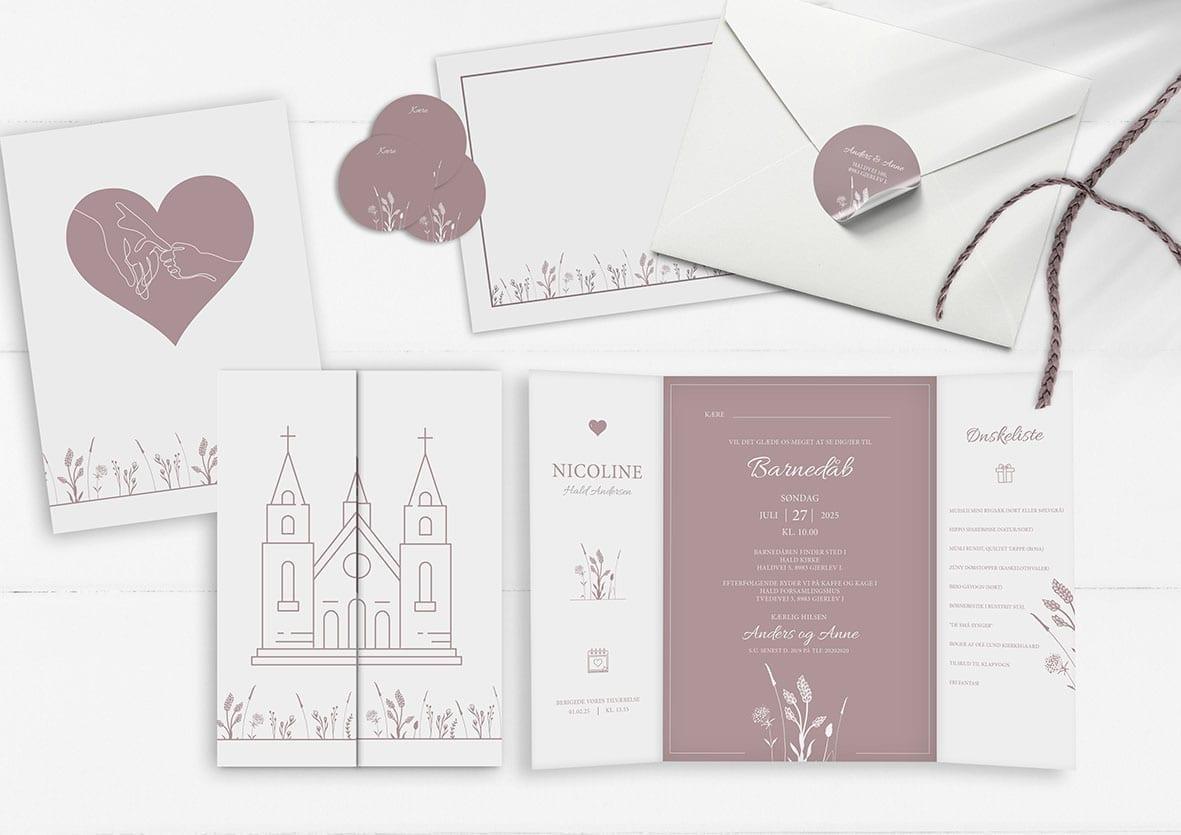 Invitation barnedåb kirke gammelrosa