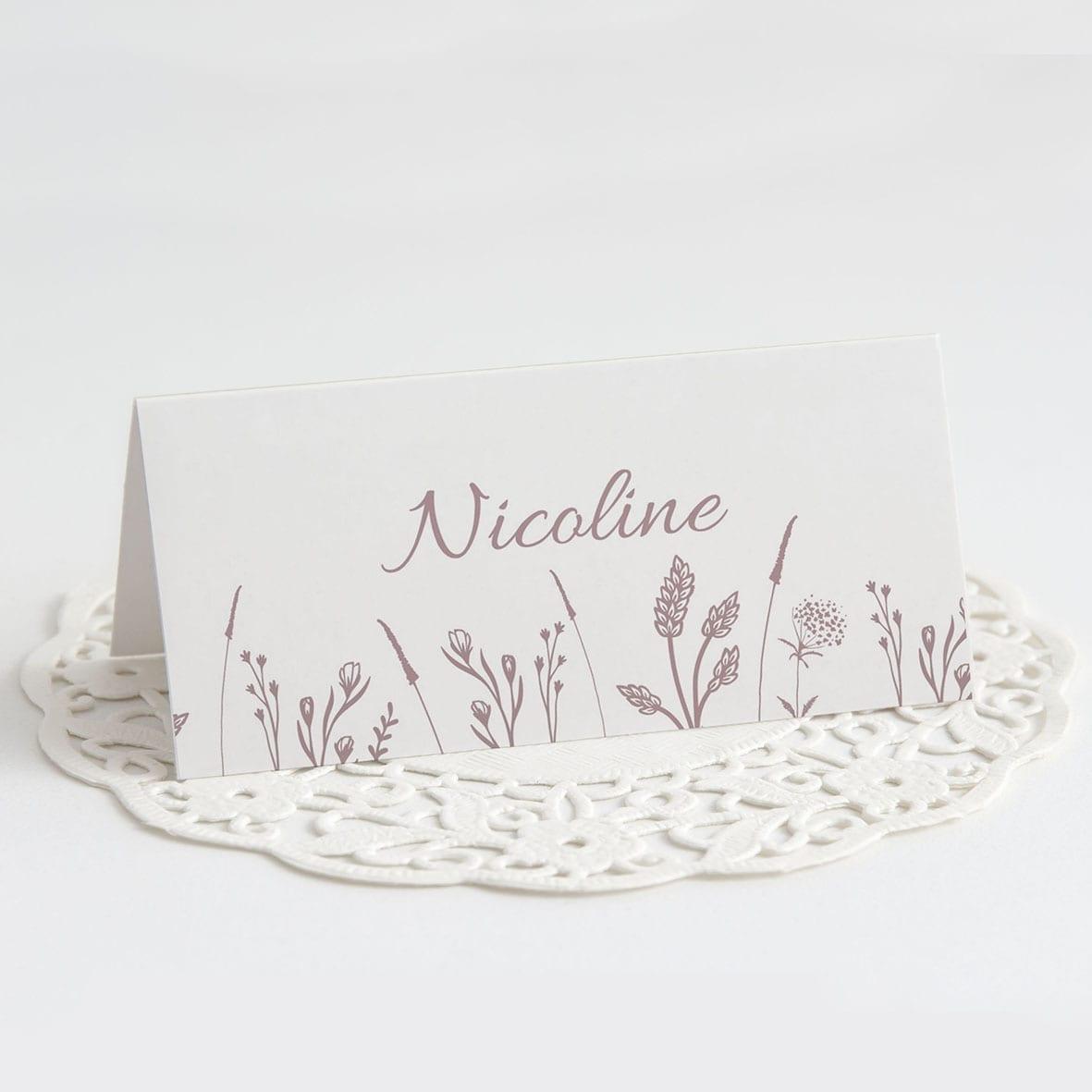 Bordkort barnedåb gammelrosa blomster