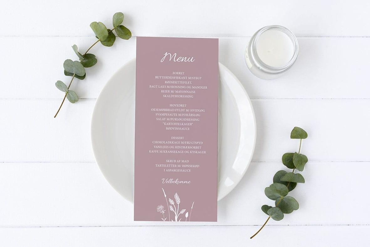 menukort med blomster rosa barnedåb