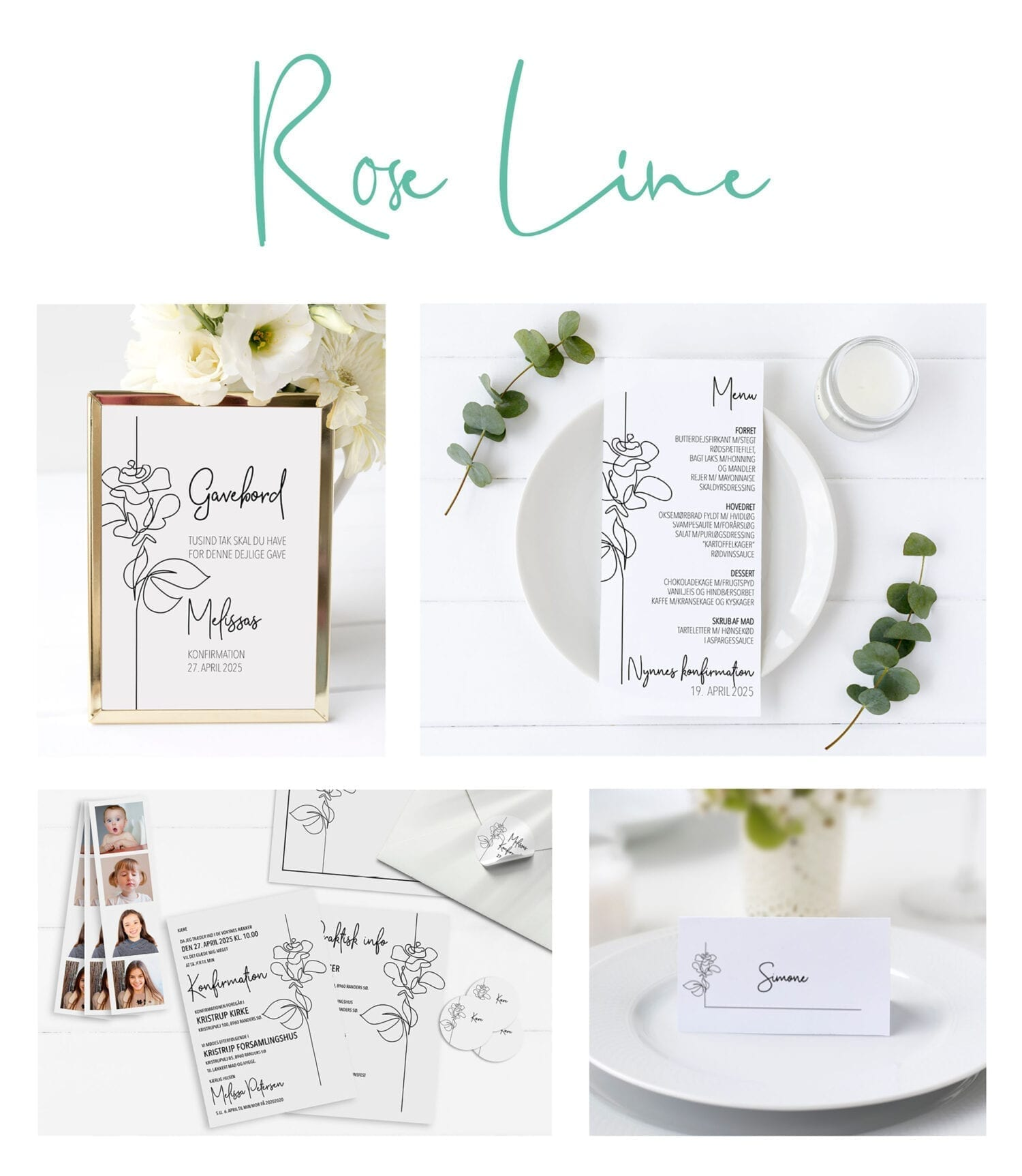 Invitation konfirmation pige rose sort og hvid