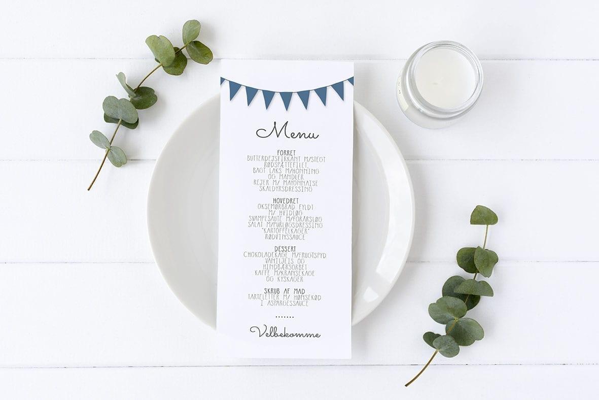 menukort med guirlande mørkeblå