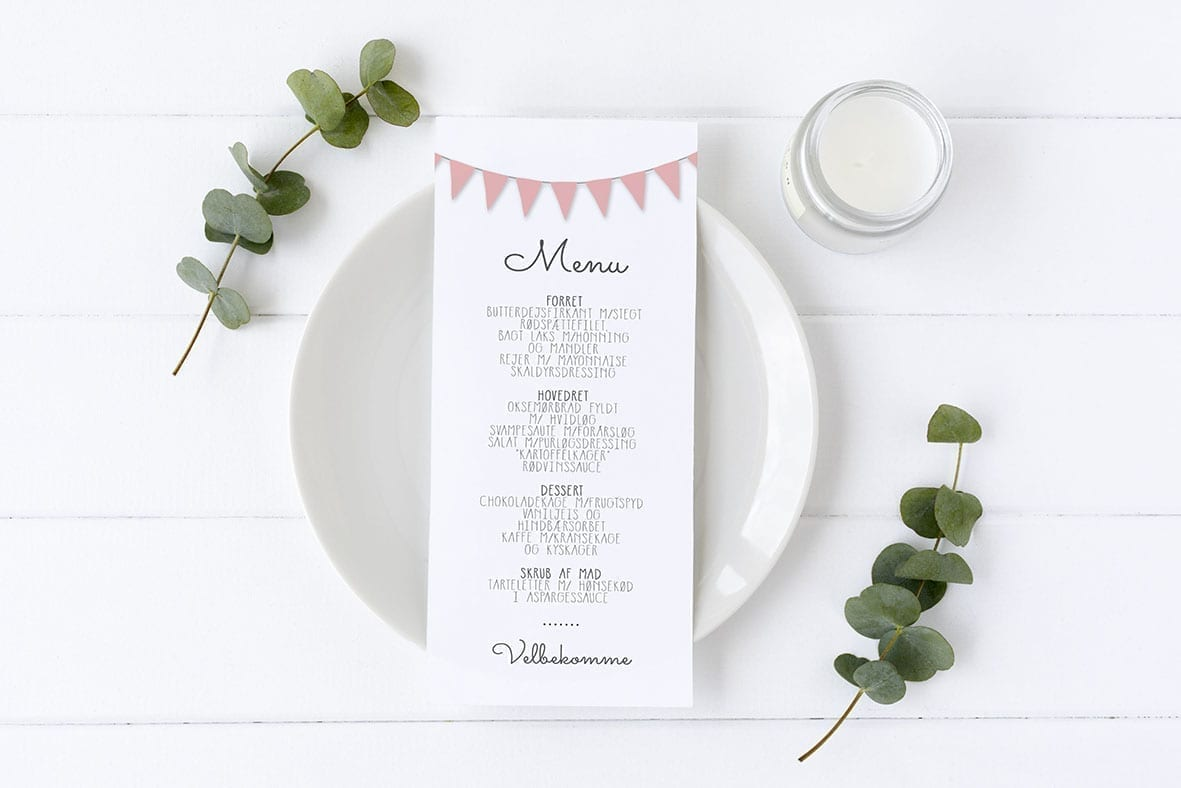 menukort med guirlande rosa