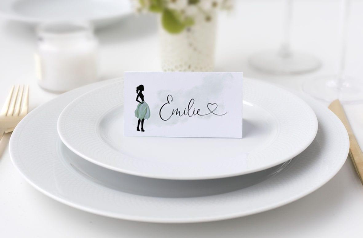 Bordkort konfirmation silhuette grøn nederdel