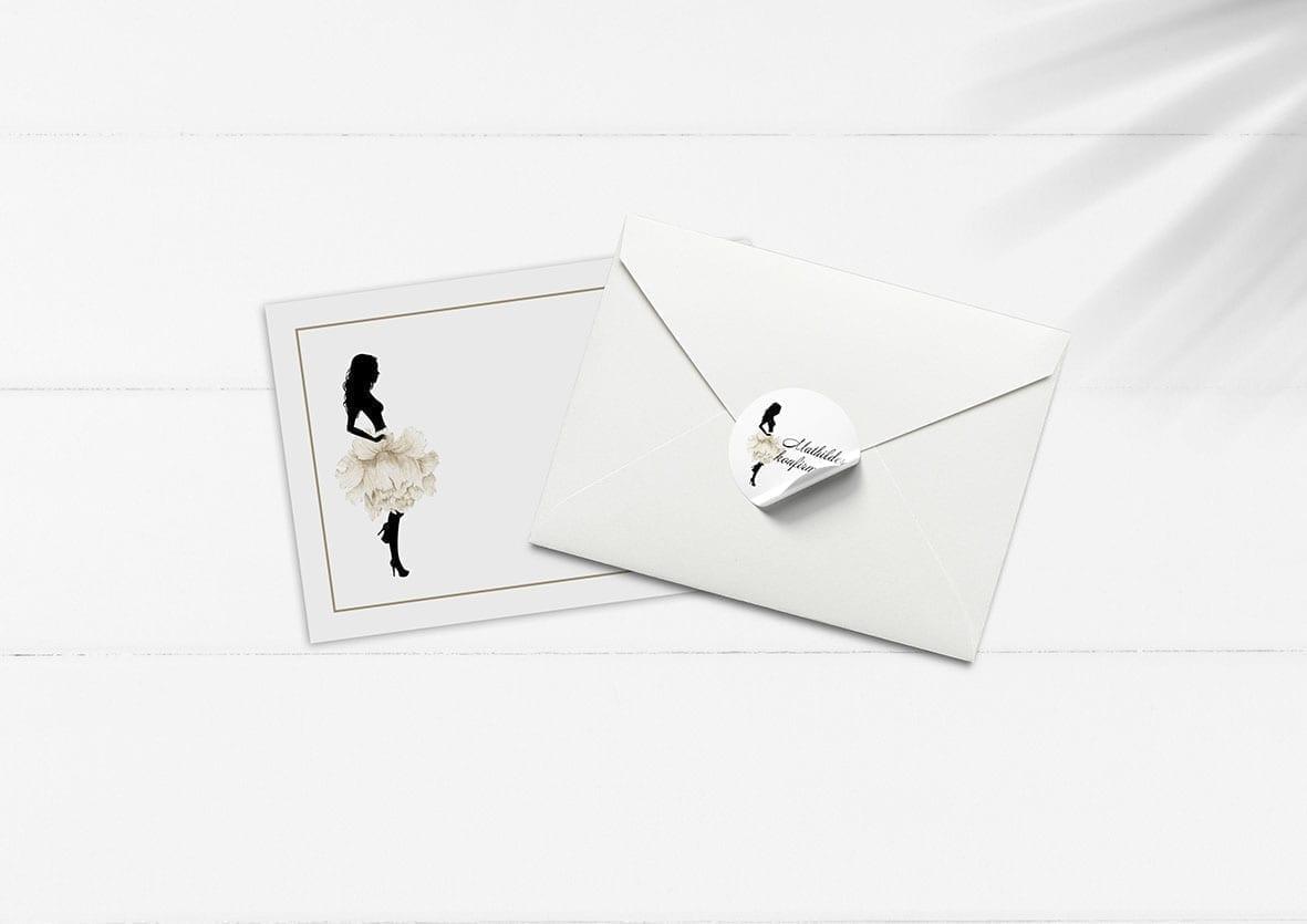 kuvert pakke med stickers silhuette hvid