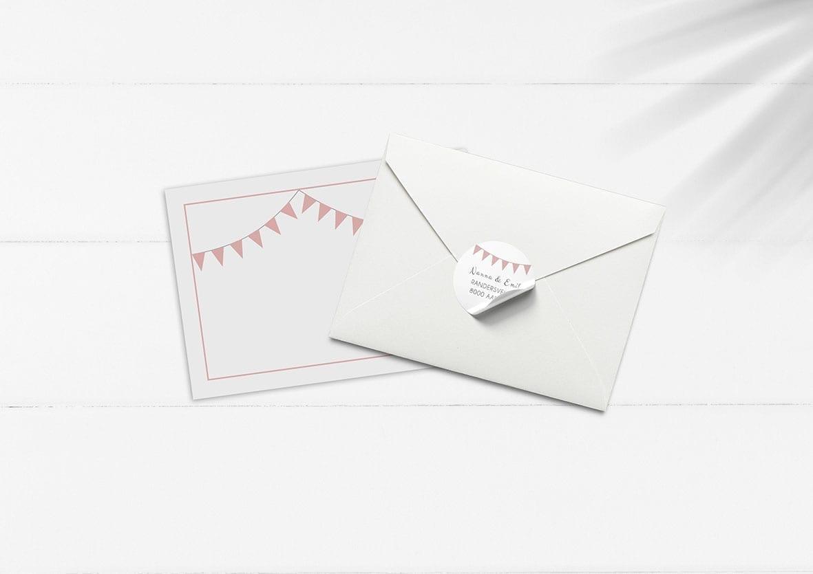 kuvert pakke med stickers silke rosa