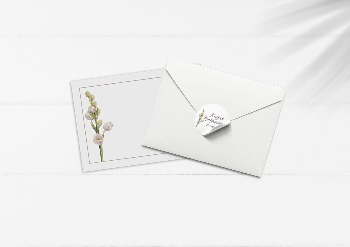 kuvert pakke med stickers lilla blomst