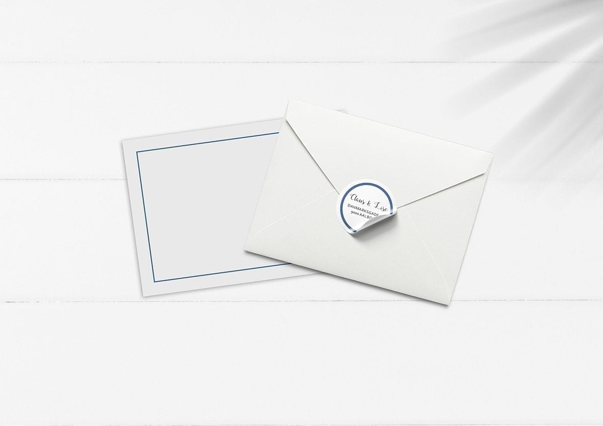 kuvert pakke med stickers mørkeblå enkelt