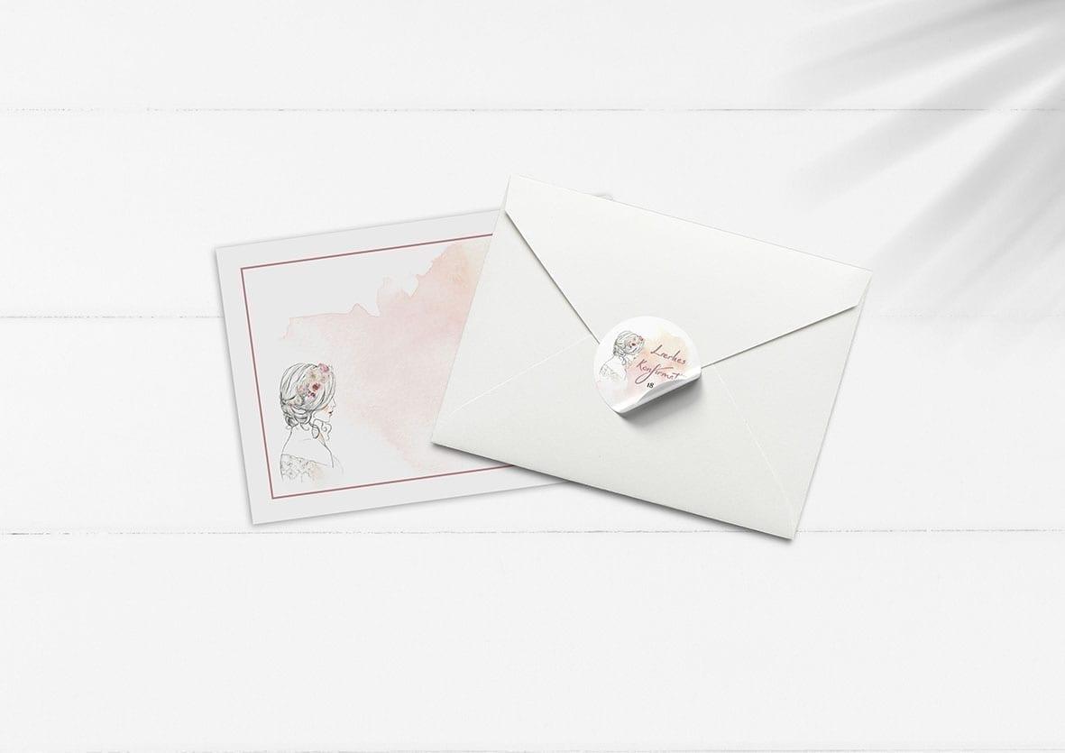 kuvert pakke med stickers watercolor girl