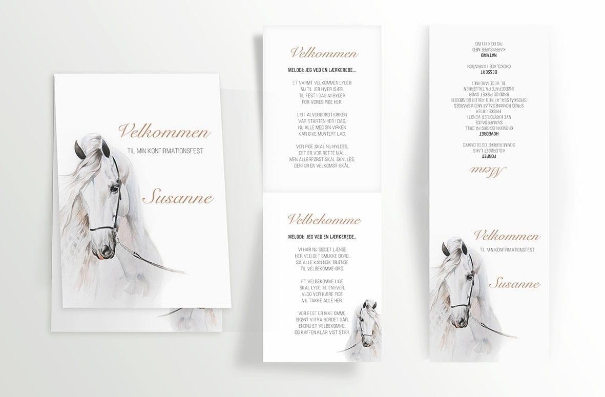 Watercolor Horse - Foldet A6 - indersider